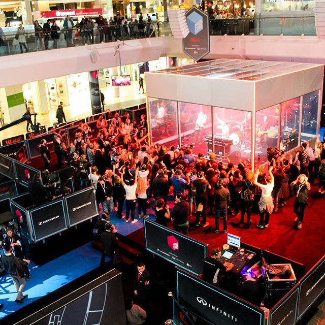 """""""We worked with @westfieldlondon to present the world's first #MUSICCUBE - a sound proof glass #event space in which audiences heard performances from @professorgreen @scoutingforgirls @mnek via @sennheiser #URBANITE #headphones. We #broadcast the gig and online streamed it plus integrated our #HashtagLive #socialmedia to present real-time messaging! #eventprofs"""" by @reallycreative."""