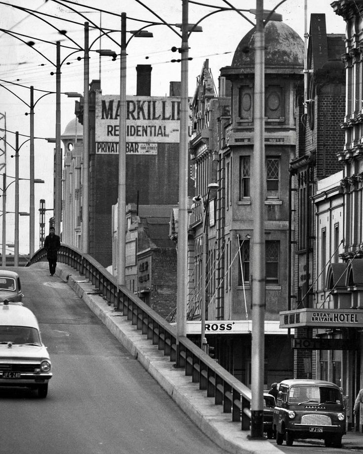 """1965. The west end of Melbourne's Golden Mile is a bit down at heel - but it could be worse. This was architect Peter McIntyre's opinion of the """"bad lands"""" west of William St after a tour of the area."""