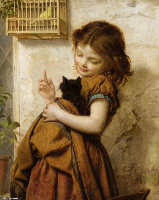 Her Favorite Pets, Oil by Sophie Gengembre Anderson (1823-1903, France)