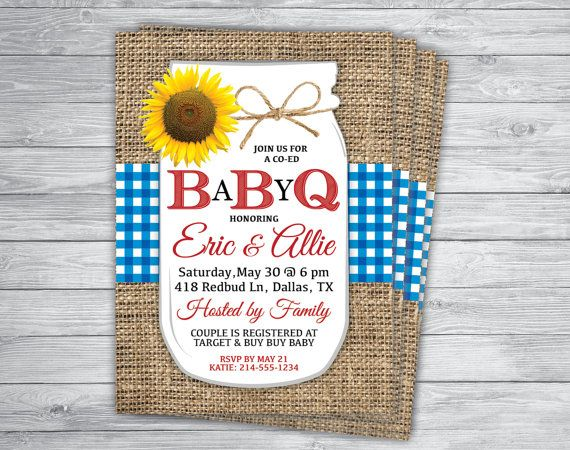 Red White BLUE GINGHAM BABY-Q Bbq Baby Shower 4th of July Party by PrintPros