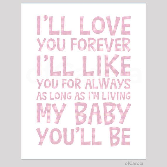 Ill love you forever quote wall art print child kids room decor message
