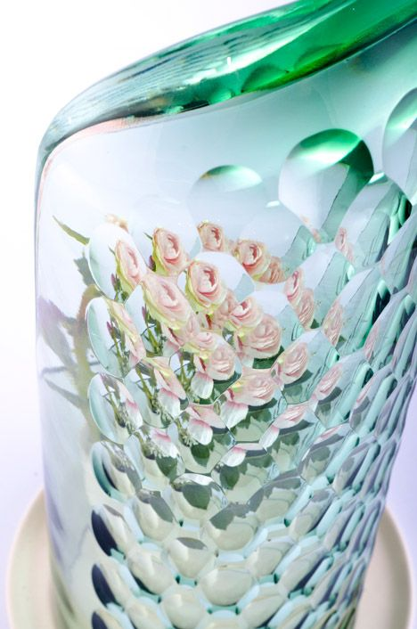 Bilge Nur Saltik's glass OP-vases create kaleidoscopic floral effects.