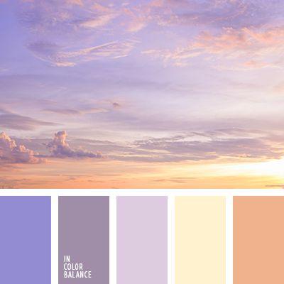 желтый, нежный сиреневый цвет, оранжевый, оттенки фиолетового, сине-фиолетовый, теплый желтый, теплый желтый цвет, фиолетовый, цвет заката, цвет неба, цвет сирени, цвета закатного неба.