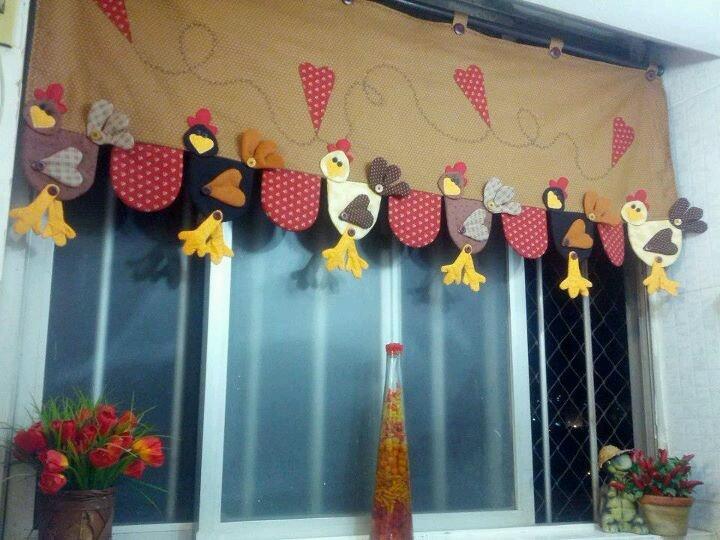 Gallinas cenefas pinterest cortinas y pollo - Ver cortinas para cocina ...