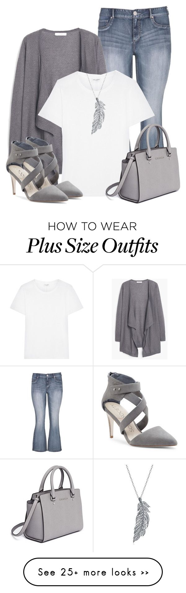 """""""White Tee Shirt and Jeans"""" by lchar on Polyvore featuring maurices, MANGO, Yves Saint Laurent, Stone Paris, MICHAEL Michael Kors and Sole Society"""