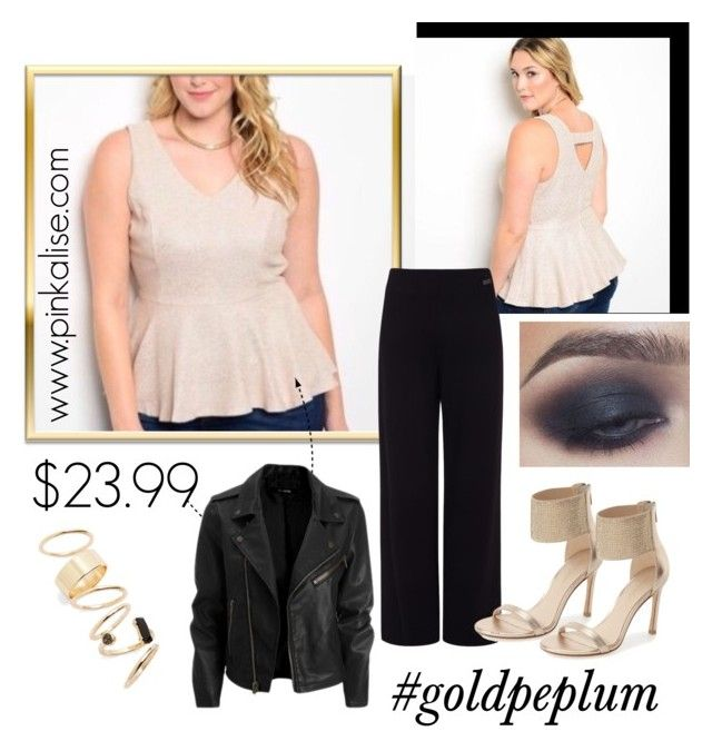"""""""Plus Size Gold Peplum"""" by pink-alise on Polyvore featuring Pink Tartan, Pelle Moda and BP."""