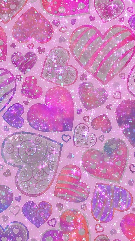 Pretty Glittery Hearts Made By Me Pink Girly Glittery Art Colorful Glitter Backgrounds Wallpa Heart Wallpaper Glitter Wallpaper Cute Patterns Wallpaper