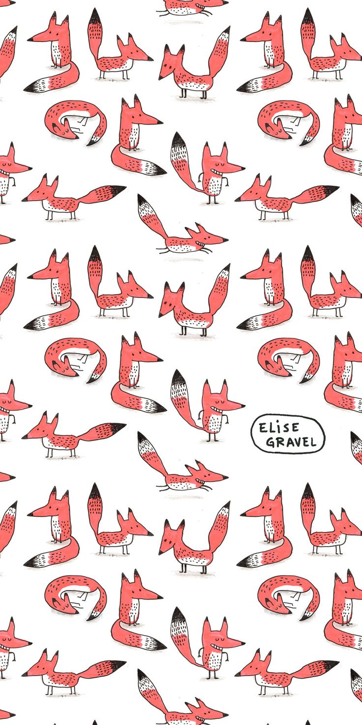 Elise Gravel illustration • foxes • fox • renard • orange • pattern • cute • art • drawing • fun • bichromia • 2 colors •