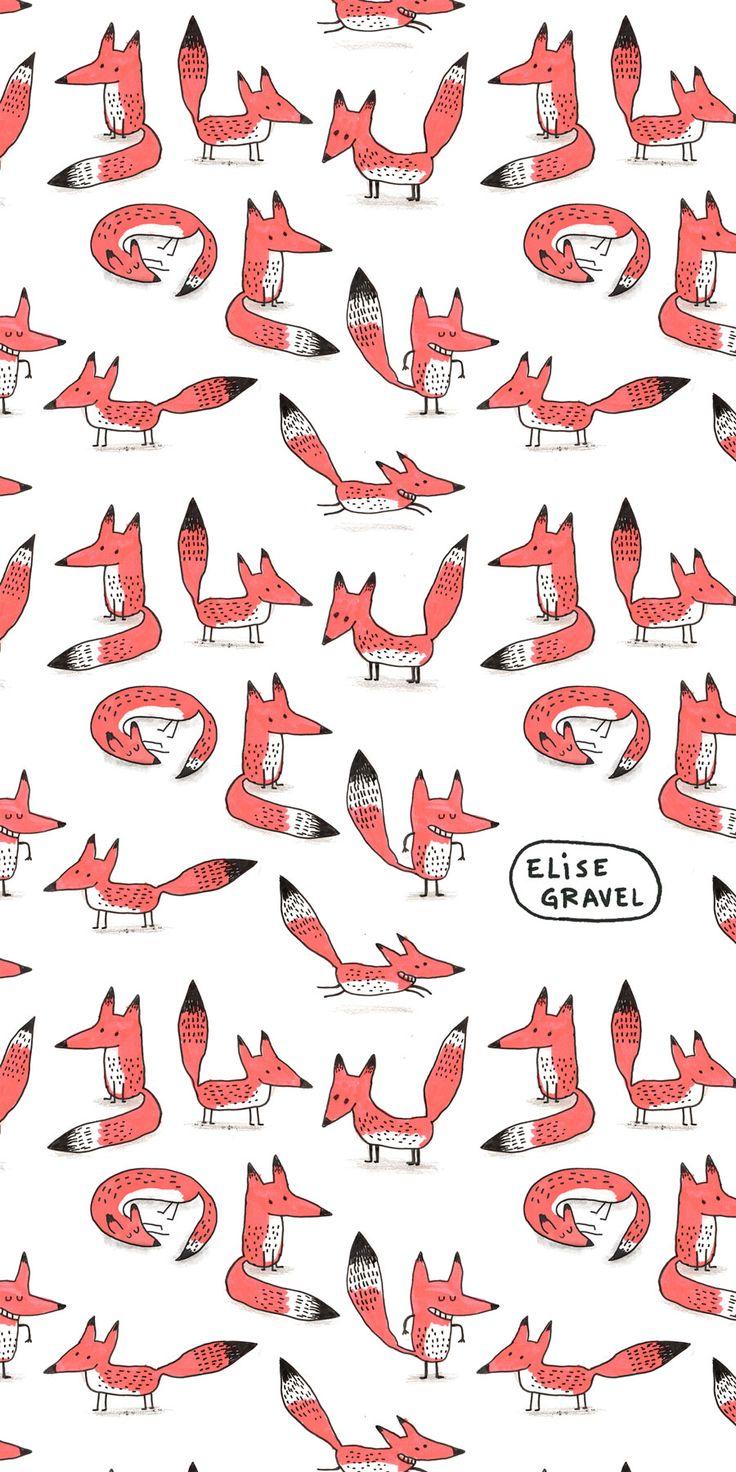 Elise Gravel illustration • foxes • fox • renard • orange • pattern • cute • art • drawing • fun • bichromia • 2 colors •
