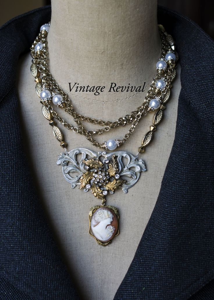"""""""Every woman has a past... Shouldn't what she wears have have one too?"""" Gold filled vintage shell cameo locket, layered necklace.... #myvintagerevival.com #repurposed #jewelry #vintage #cameo"""