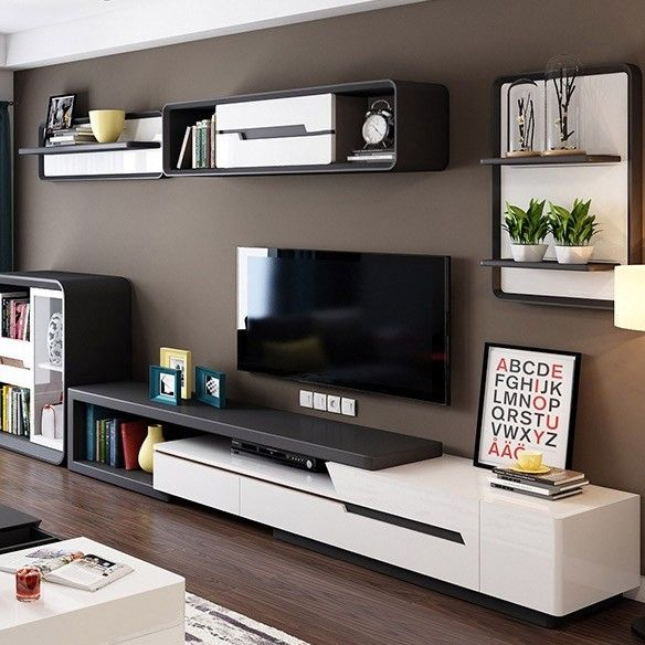 Modern Extendable Tv Stand Entertainment Cabinet With Storage White Walnut White Black Tv Stand With Bookshelf Drawer Living Room Tv Unit Designs Living Room Tv Stand Living Room Tv Unit