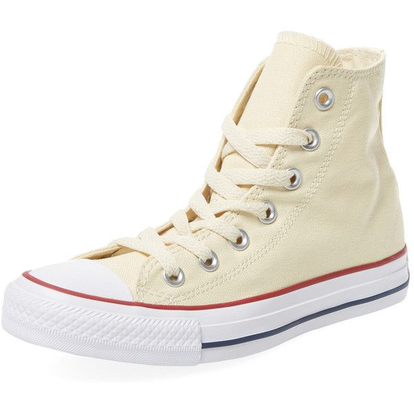 Converse Women's Chuck Taylor All Star Hi-Top - Cream/Tan ($45) ❤ liked on Polyvore featuring shoes, sneakers, converse shoes, star sneakers, tan shoes, converse sneakers and platform high tops