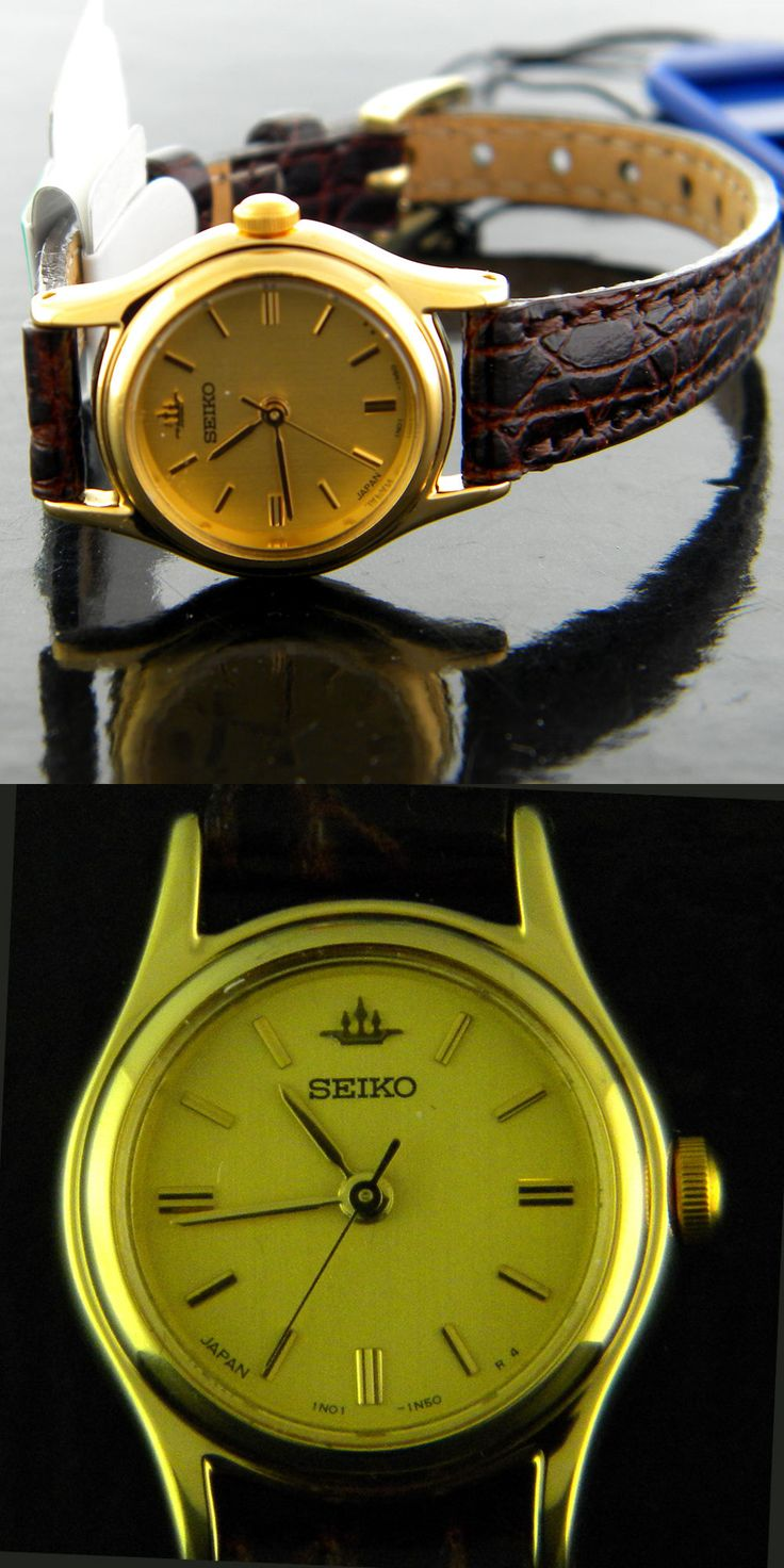 Other Jewelry and Watches 98863: Seiko Lady S Watch Round Gold-Tone Dial Brown Embossed Leather Band On Sale -> BUY IT NOW ONLY: $49.99 on eBay!