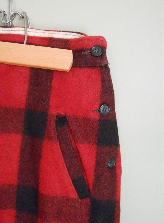 1940s Red Plaid Wool Hunting Pants Men's Vintage by MDMvintage