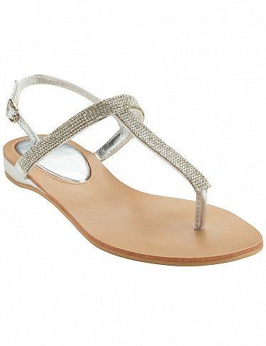 Sandales avec effet métallique, argent