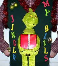 MENS UGLY CHRISTMAS SWEATER VEST - GRINCH WITH BELLS - EXTRA LARGE - XL - UNISEX