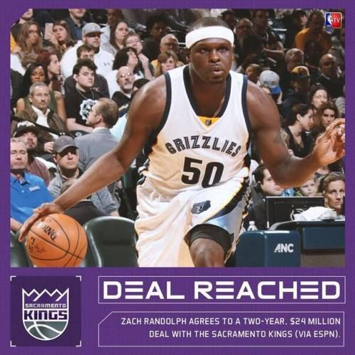 Zach Randolph agrees to a two-year $24M deal with the http://ift.tt/2tmz4i5