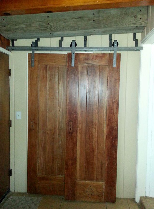 Double Track Bypass Sliding Barn Door Hardware Kit W 8 Ft Track For 2 Doors 96 Barn Door