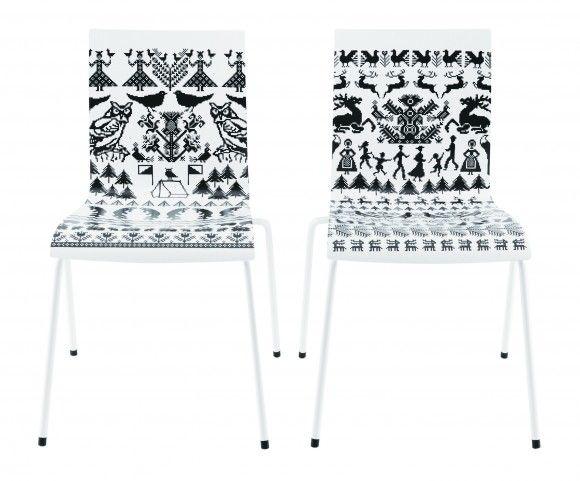 Saana ja Olli drew Metsässä/Telttailemassa chair print designs for Japan's largest department store Isetan's and Hirameki Design x Finland's collaborative Love Chair Collection. The chairs were manufactured in Salo, Finland by Piiroinen. [ http://www.saanajaolli.com/ ]