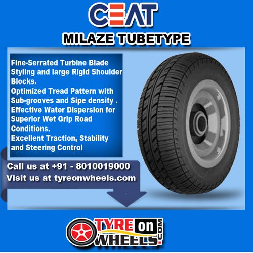 Buy Ceat Tyres Online of Milaze Tube Type Tyres at Guaranteed Low Prices and also get Mobile Tyres Fitting Services at your home now buy at http://www.tyreonwheels.com/tyres/Ceat/MILAZE-/8