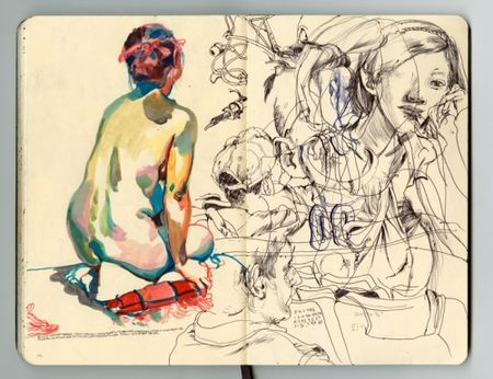 By James Jean.  From one of his moleskines, posted on his blog May 13, 2009. ©2009 James Jean.