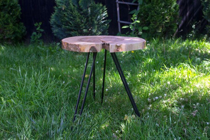 Wood Cookie End Tables, Stools, with hairpin legs by PriosTeam on Etsy