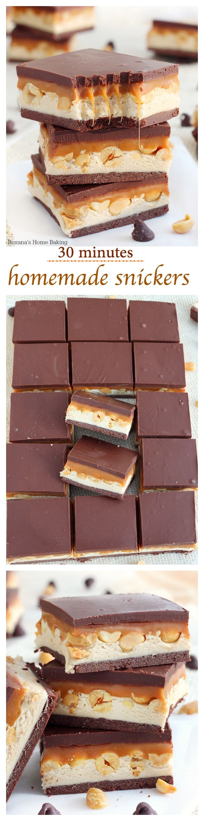 Nougat, peanuts and caramel sandwiched between two chocolate layers, these Homemade Snickers Bars come together in 30 minutes tops! Faster than going to the store to buy some! @roxanasbaking
