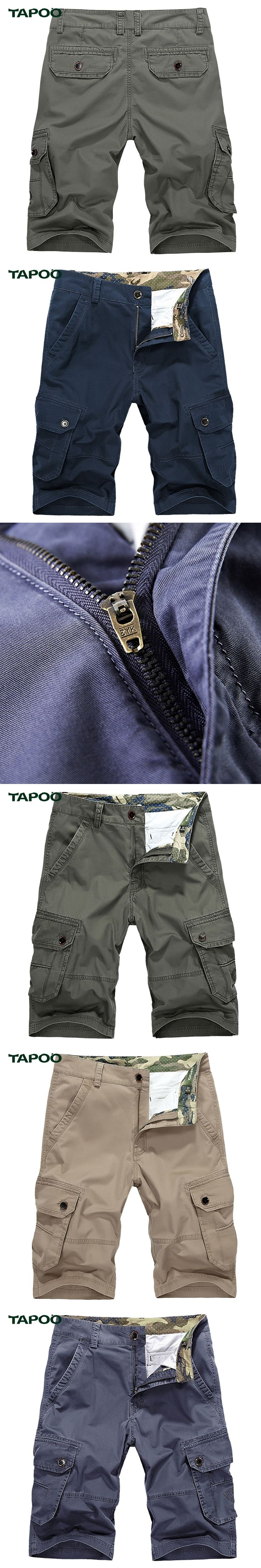 Plus Size 44 Mens Cargo Shorts Military Tapoo Brand-clothing Summer Casual Denim Bermudas Hombre pantalon corto mujer Military