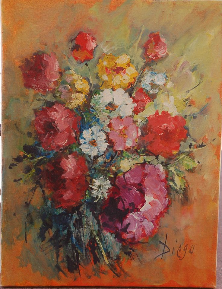 """#DiegoVoci™ A lovely bouquet of flowers, or as Diego titled it """"Petit Fleurs"""" (Oil 16 x 11). It is numbered #658 which is one of the ways to 'date' some of his works. Contact diegovociproject@gmail.com with your questions. Private Collection Lynda B"""