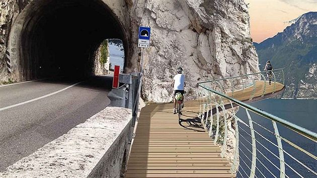 """Italské ministerstvo infrastruktury a dopravy po dohodě s Lombardií, Benátskem a autonomní provincií Trentino zahájilo projekt """"Garda na kole"""" - stavbu nové obří cyklostezky. Bude 140 kilometrů dlouhá a nabídne cyklistům úchvatné scenérie na slavné jezero."""