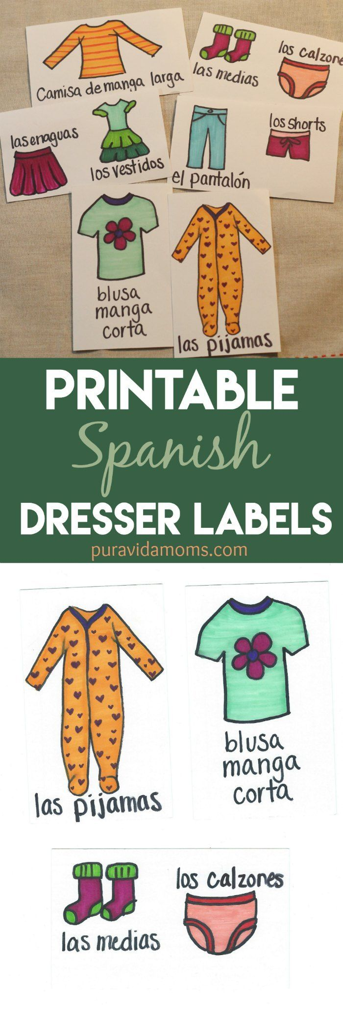 60 best spanish and spanishhispanic culture weekly home build vocabulary skills in spanish with these adorable easy printable spanish dresser drawer labels and ccuart Images