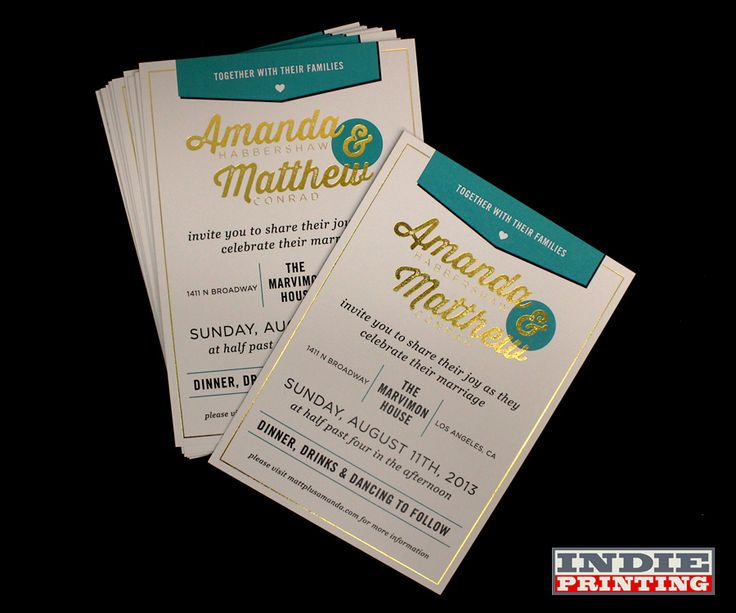 Wedding invitations. Full Color on both sides. Printed on eco-friendly papers. Same day turnaround always available.