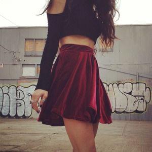 Merlot Velvet Skater Skirt $34.00