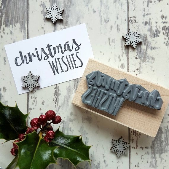 Christmas Wishes Rubber Stamp  by Skull and Cross Buns