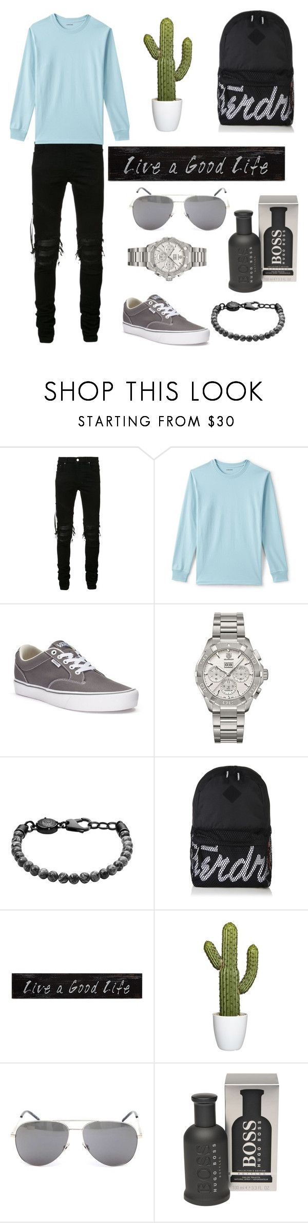 """A reason"" by slowsilence ❤ liked on Polyvore featuring AMIRI, Lands' End, Vans, TAG Heuer, Diesel, Superdry, Creative Co-op, Yves Saint Laurent, BOSS Hugo Boss and men's fashion"
