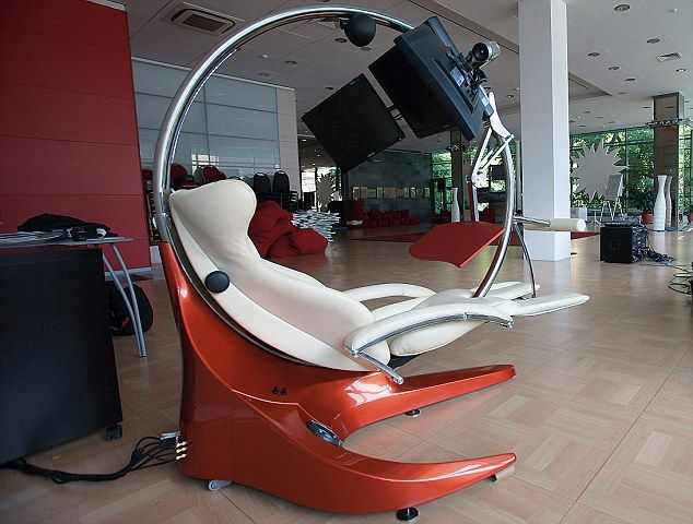 The ultimate ergonomic workstation: The chair, desk and monitors move within the circular frame. iClubby