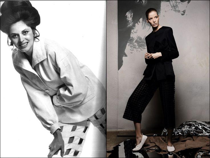 Слева: Vogue. Париж. Март 1969 г. Модель: Джой де Рохан Шабо (Joy de Rohan Chabot). Фотограф: Генри Кларк  (Henry Clarke). Справа: Vogue. Китай. Март 2015 г. Модель: Алиса Ахманн (Alisa Ahmann). Фотограф: Сольве Сундсбо (Solve Sundsbo). #fashion #fashioninspiration #style #60s #1960s #SperanzaFirsace