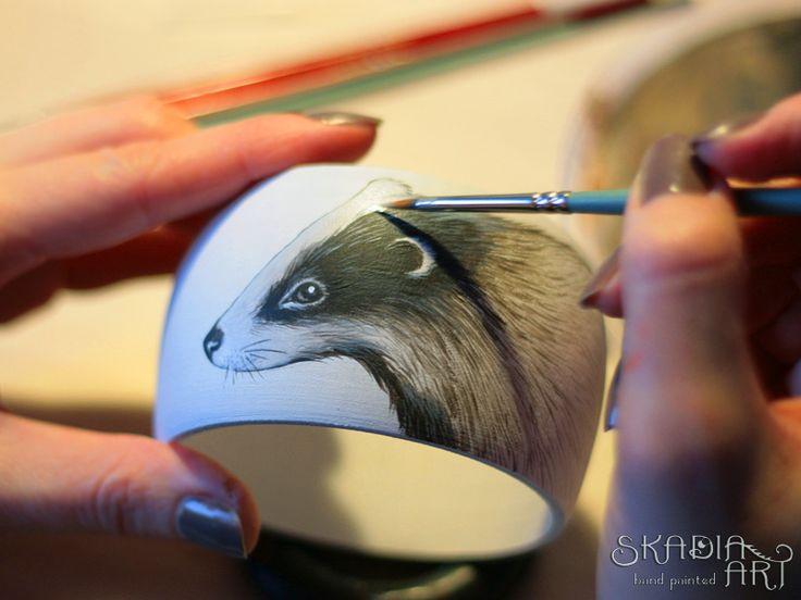 Bracelet with a badger in progress