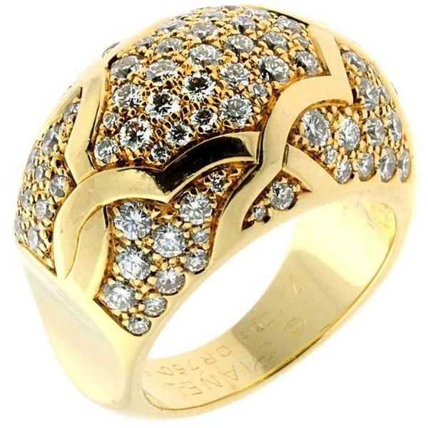 Chanel Camellia Diamond Gold Ring (€14.115) ❤ liked on Polyvore featuring…