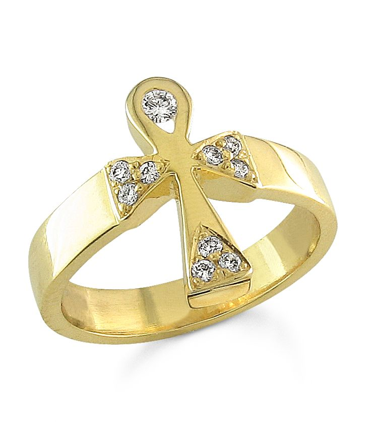 ankh angel ring with diamonds 14k yellow gold ankh diamond ring ankh angel tm - African Wedding Rings