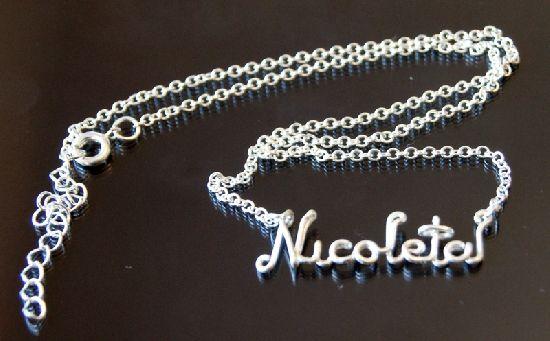 Colier placat cu argint, cu pandant personalizat, nume, cuvant, simplu, by BanaDesigns, 18 Lei