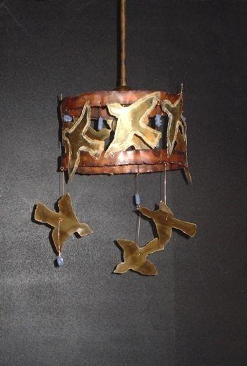 Handmade pendant lamp made of brass, copper and handmade glass beads.