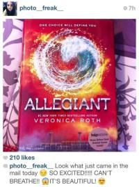 Several Allegiant books got shipped early due to a Canadian shipping error. No fair •-• << excuse me while I move to Canada.