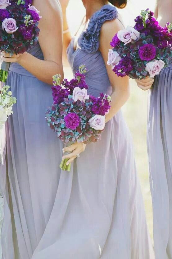 lovely lilac dresses with a pop of Radiant Orchid in the flowers