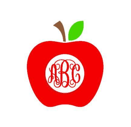 Teacher Monogram Apple Monogram Decal Gifts For Teacher