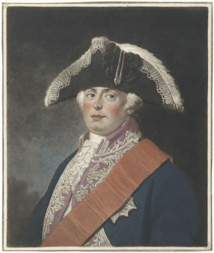 Charles Howard Hodges | Portret van Frederik Willem II, koning van Pruisen, Charles Howard Hodges, 1794 | Frederik Willem II, koning van Pruisen, met op het hoofd een steek.