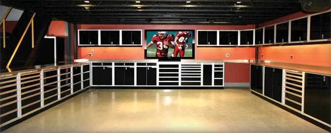 Of course a good garage should have a tv in it! Any manspace should have a large tv!
