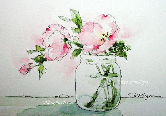 Pink Evening Primrose Wildflower Watercolor Painting Print Flower Floral Bouquet