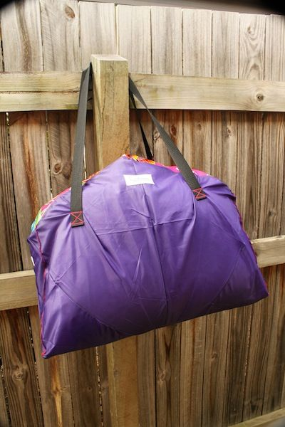 The Brolly Bag. This bag is made from an umbrella that had a broken frame. The fabric is super sturdy and water resistant, so perfect for a big bag.
