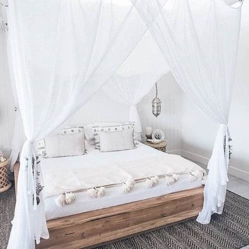 I liked the bed fram idea, not so much the curtains